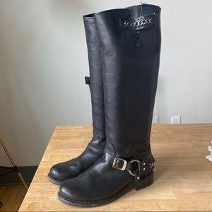 FRYE Jenna chain harness knee high boots